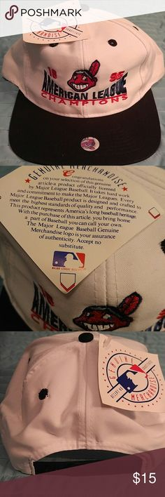 Vintage Cleveland Indians 1995 AL Champs snapba This is a super rare item that is over 20 years old but still new with tags. This is officially licensed MLB merchandise as the tag indicates. The white hat features Indians signature blue and red logo and script with a black brim and snapback. Support the Tribe! Accessories Hats