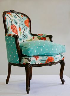 Inspiration for upholstery for our thrift store find.
