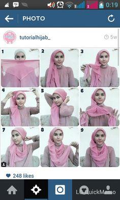 Pink beautiful #hijabtutorial