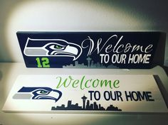 Seahawks welcome wood sign.  24 x 7.25