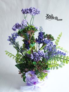 My florist work - Green and violet grass composition #knitmade #knitmadeflowers #knitmadenews #green #violet