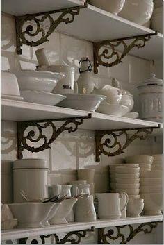open shelving, iron brackets, ironstone - via cote de texas Country Kitchen, New Kitchen, Kitchen Decor, Kitchen Ideas, Kitchen Pantry, Kitchen Interior, Kitchen Nook, Kitchen White, Design Kitchen