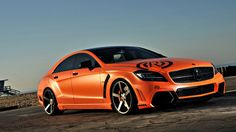 Mercedes Benz in flat orange