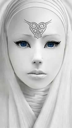 """Character Inspiration: Nyrkhe (""""Mother"""") is the Elfen and Sveket goddess. Warrior Princess, Shades Of White, Black And White, Snow White, Character Inspiration, Character Design, 3d Character, Foto Picture, Foto Poster"""