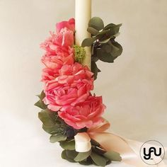 Lumanare botez bujori viburnum - LB64 Christening, Concept, Candles, Plants, Design, Decor, Flowers, Trunks, Dekoration