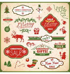Collection of christmas elements vector