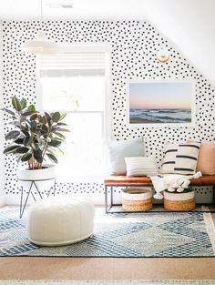 Inside The Bright + Happy Home Of Sunny Circle Studio's Erin Wheeler | Glitter Guide Accent Walls In Living Room, Flat Ideas, Workout Rooms, Home Decor Furniture, Guest Bedrooms, House Colors, Dots, Home Renovation, Bright