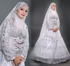 Islamic style veil, hijab, and a modest wedding dress with a western a-line silhouette from Dar Laroussa: Almost exactly what I'd imagined, only in cream and golds instead of just silver and white. Perfect except for neck shroud and full A-line as far as my ideal style