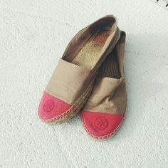 Tory Burch // Colorblock Espadrilles Contrasting cap toe featuring an embroidered Tory Burch medallion provides a striking finish for a casual-chic canvas espadrille.Textile upper and lining/rubber sole. Preowned, please see photos to represent condition (in good condition). Some superficial marks on fabric, can be washed by hand or in machine. Sold out now. True to Tory Burch sizing. Purchased in Tory Burch store at Copley. Reasonable offers welcome. Tory Burch Shoes Espadrilles