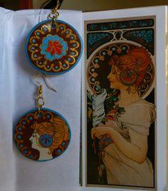 Mucha inspired earrings. Art Nouveau.Orecchini spaiati artisticamente ispirati. 18€ plus 7€ for pendant CLICK THE IMAGE TO KNOW MORE