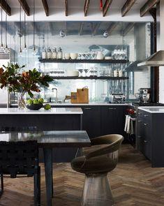 kücheneinrichtung küche esszimmer industrieller look offene regale