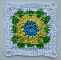 Floral afghan block (free crochet pattern)