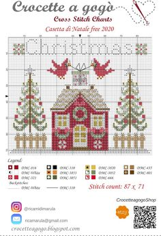 Crocette a gogò..... Free Cross Stitch Charts, Cross Stitch Freebies, Counted Cross Stitch Patterns, Cross Stitch Designs, Cross Stitch Embroidery, Cross Stitch House, Small Cross Stitch, Cross Stitch Samplers, Cross Stitching