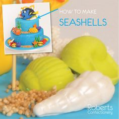 FInding Dory Cake: How to make Seashells - Dust 3D Shell Mould with cornflour to prevent fondant sticking. Roll small balls of Bright Green Satin Ice fondant & Satin Ice White Gum Paste. Press into each Shell cavity. Leave to dry. Dust white shells with Edible Dust. Full recipe on Roberts Confectionery website: http://www.robertsconfectionery.com.au/pages/recipe-sheets