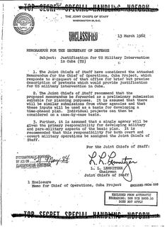 Operation Northwoods - A false-flag operation suggested to JFK.