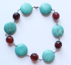 Vintage Sterling Silver, Turquoise & Faceted Brown Quartz Beaded Bracelet by paststore on Etsy