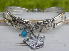 Spoon handle bracelet crown rhinestone by WhisperingMetalworks Blue Crystals, Crystal Beads, Or Antique, Antique Silver, Fork Jewelry, Silverware Jewelry, Silver Spoons, Queen, Jewelry Making