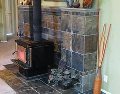 tile behind wood stove Wood Stove Surround, Wood Stove Hearth, Stove Fireplace, Wood Burner, Fireplace Wall, Fireplace Ideas, Basement Living Rooms, Living Room Remodel, Propane Stove
