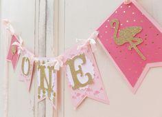 "Flamingo Banner ""ONE"" Birthday ~ Smash Cake Photo Prop ~ Decoration ~ Pink & Gold Chic Decor"