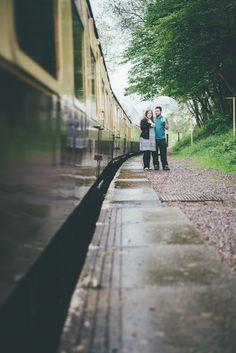 East Somerset Railway, Cranmore Station. Engagement shoot. Umbrellas.  Matt Fox Photography - Blog