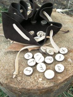 Viking rune set with leather pouch - $18 - Good for a game or perhaps to leave messages for your allies?