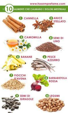 DIECI ALIMENTI PER COMBATTERE I DOLORI MESTRUALI. 10 FOOD FOR MENSTRUAL PAINS: 1 cannella (cinnamon), 2 anice stellato (star anise), 3 camomilla (chamomile tea), 4 semi di lino (flaxseedoil), 5 banane (bananas), 6 pesce azzurro (fish), 7 fiocchi d'avena (rolled oats), 8 barbabietola rossa (beetroot), 9 semi di girasole (sunflower seeds), 10 legumi (legumes)