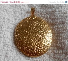 SALE Engravded Gold Tone Locket Pendant by VintageVarietyFinds
