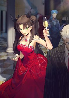 Rin Tohsaka, Archer and Lancer/Caster (Emiya and Cu Chulaain) - Fate Grand Order//Fate Stay Night M Anime, Chica Anime Manga, Manga Girl, Anime Girls, Anime Girl Dress, Fate Zero, Astolfo Fate, Manga Kawaii, Kawaii Anime Girl