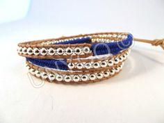 Wikkelarmbanden - Trendy leren triple herringbone wrap blauw/zilver - Een uniek product van Unycq op DaWanda