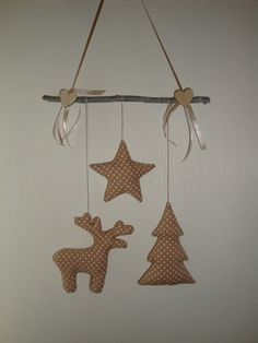 Girlande Mobile Elch Baum Tilda-Stern Weihnachten Winter NEU Handarbeit Beige 1                                                                                                                                                                                 Mehr