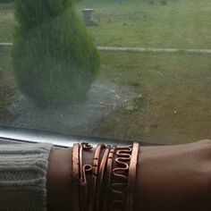 Enjoy the fall rains and bad weather in style. Shop at PureCopperCreations. This is a great combination of open bangles to really brighten that gloomy day! #style #shopping #braceletstacks