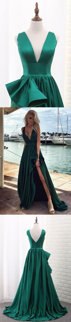 2019 V Neck A Line Satin Prom Dresses With Slit Sweep, This dress could be custom made, there are no extra cost to do custom size and color