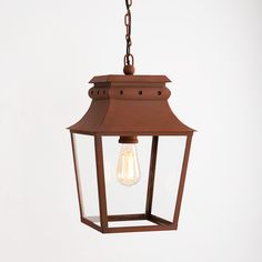 The Bath Hanging Lantern is inspired by century Carriage Lanterns. The Bath Hanging Lantern is suitable for porches and covered walkways and is Rated. Ceiling Rose, Ceiling Lights, Vintage Led Bulbs, Covered Walkway, Corten Steel, Hanging Lanterns, Outdoor Lighting, Terracotta, Bath