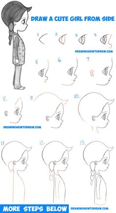 How to Draw a Cute Chibi / Manga / Anime Girl from the Side View Easy Step by Step Drawing Tutorial for Kids & Beginners