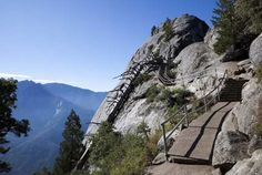 The Moro Rock trail is 1/3 mile long in the form of a giant stone staircase, and the view from the top offers unparalleled views of the Central Valley and the Great Western Divide.  Sequoia National Park, California