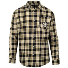 Men's New Orleans Saints NFL Klew Black/Gold Wordmark Flannel Button-Up Long Sleeve T-Shirt