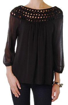 Humble Chic Women's Zip Back Blouse - Black - SMALL - Long Sleeve Crochet Chiffon Top Humble Chic NY http://www.amazon.com/dp/B00FU3BMPY/ref=cm_sw_r_pi_dp_uGwtvb09HVAZQ