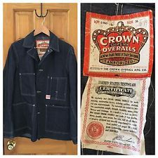 1930s Crown Sanforized Denim Work Jacket Chore Jacket Coat With Tags