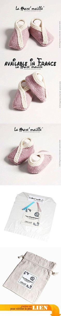 Chaussons bébé laine rose et écru tricotés main La Mare'maille.  #Guild Product #GUILD_BABY