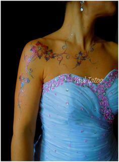 """tatouage pailleté argent rose et gris par yael tatoo """"le henne version elegance"""" 0620147095"""