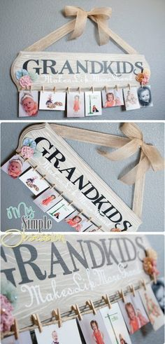 DIY Family Photo Display. Such a cute family photo display and it will be easy to switch out the pictures when you need to! A great gift idea for your grandparents!