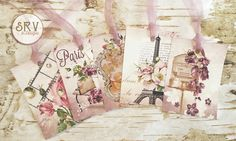 Set of 9 Paris Romance Gift Tags, 2.5 x 3.5 Hang Tag, French Style Thank You Tags, Product Tag, Floral, Lavender Organza Ribbon by SRVintageandDesigns on Etsy