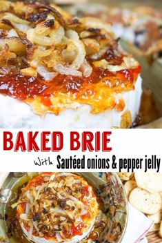 Baked Brie with Sautéed Onions and Hot Pepper Jelly Baked Brie Recipes, Cheese Recipes, Veggie Recipes, Cooking Recipes, Cheese Appetizers, Yummy Appetizers, Appetizer Recipes, Angle Food Cake Recipes, Baked Ricotta