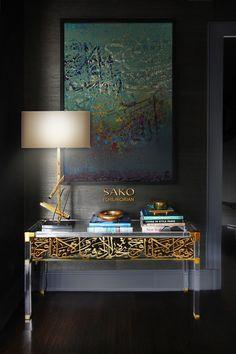 Acrylic on canvas Calligraphy art on existing Plexiglas table Arabic Decor, Islamic Decor, Islamic Wall Art, Deco Furniture, Unique Furniture, Furniture Design, French Furniture, Arabesque, Layout Design