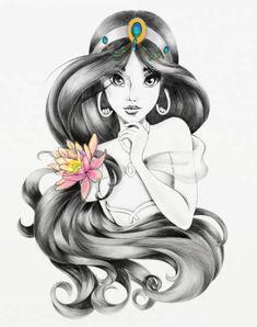 Princess Jasmine with a beautiful lotus flower in her hair Princess Jasmine with a beautiful lotus flower in her hair - Populaire Disney Dessin Disney Princess Jasmine, Disney Princess Drawings, Disney Princess Art, Disney Sketches, Disney Drawings, Drawing Disney, Art Drawings, Art Sketches, Disney Princess With Tattoos