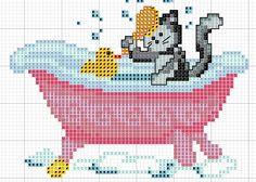 patrón de gato para baño 2