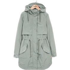 PARKA LONDON Fleur Parka - Pistachio (13,650 PHP) ❤ liked on Polyvore featuring outerwear, coats, pistachio, lightweight hooded parka, green hooded coat, peak coat, green hooded parka and green coat