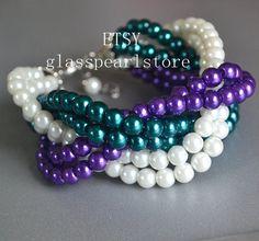 blanco azulado púrpura pulsera de perlas mezcla por glasspearlstore