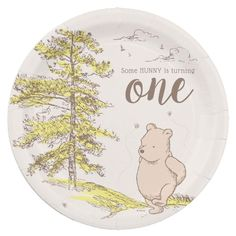 Classic Winnie the Pooh | First Birthday Paper Plate Winnie The Pooh Decor, Vintage Winnie The Pooh, Baby 1st Birthday, First Birthday Parties, First Birthdays, Anniversary Quotes, Party Tableware, Paper Plates, Baby Shower Themes