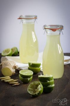 Ginger and lime syrup - Detox Recipes Ideen Easy Alcoholic Drinks, Drinks Alcohol Recipes, Cocktail Recipes, Easy Smoothie Recipes, Easy Smoothies, Refreshing Drinks, Summer Drinks, Food Blogs, Food Videos